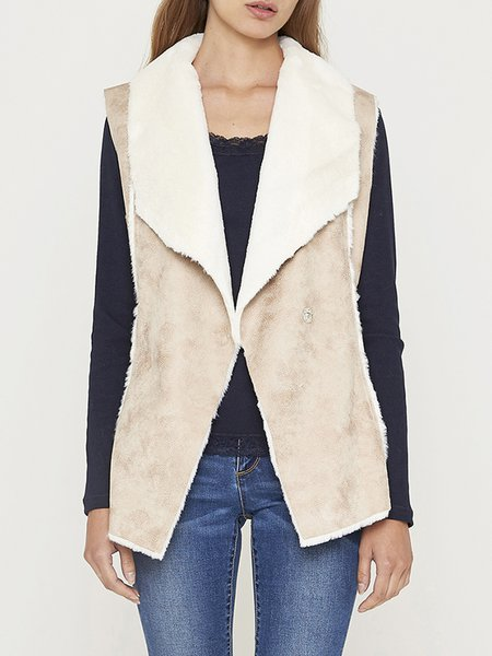 Beige Paneled Casual Polyester H-line Vests