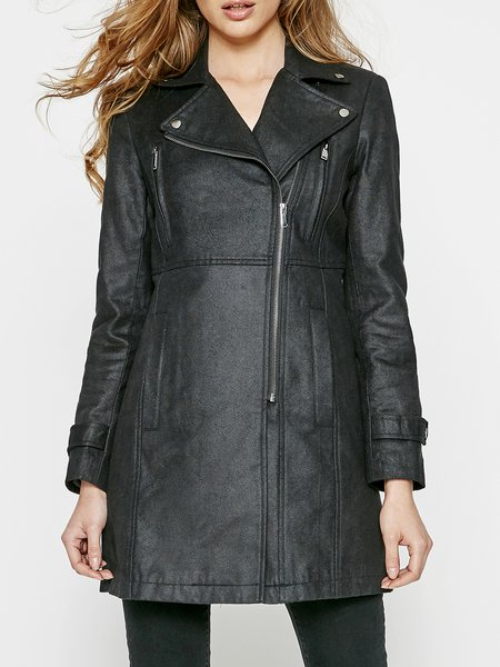 Simple H-line Solid Lapel Long Sleeve Coat