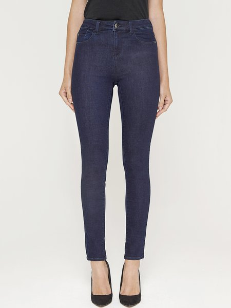 Dark Blue Cotton-blend Washed H-line Casual Skinny Leg Pants
