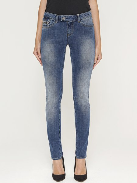 Blue Washed Casual Straight Leg Pants