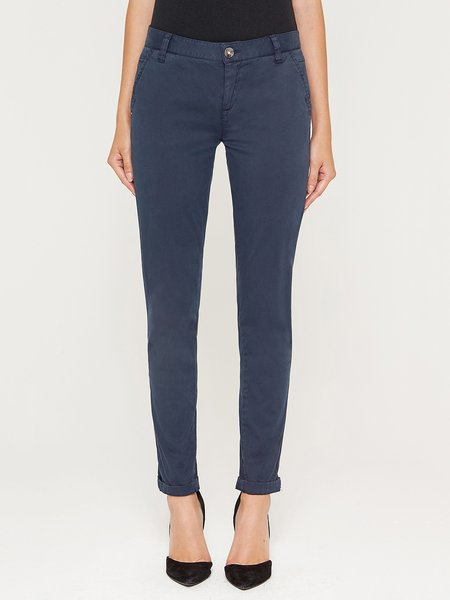 Navy Blue H-line Solid Casual Skinny Leg Pants