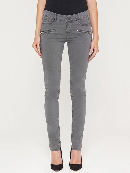 Gray Solid Casual Zipper Skinny Leg Pants