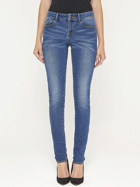 Blue Denim Casual H-line Straight Leg Pants