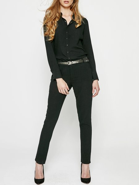 Black Buttoned Solid H-line Simple Jumpsuit