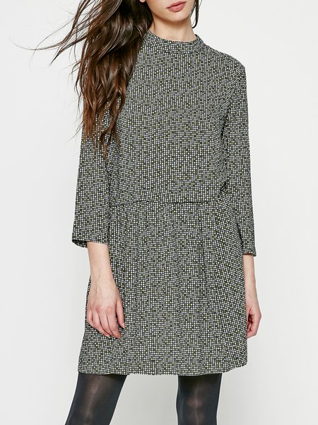 Olive Green Plain Girly Midi Dress