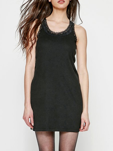 H-line Solid Basic Paneled Sleeveless Mini Dress