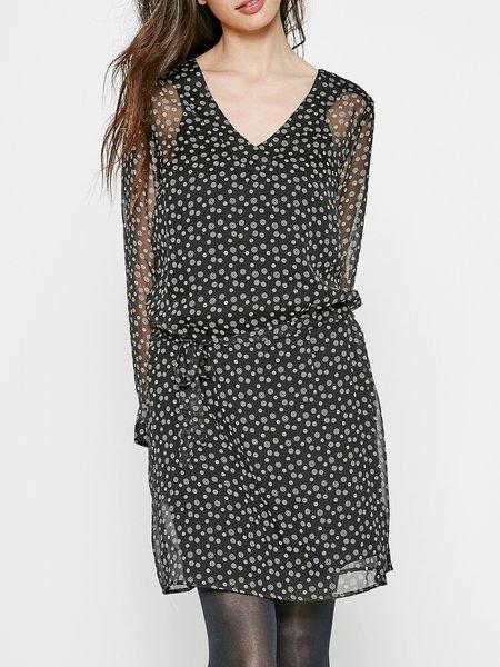 Black Printed Geometric Simple Polyester Mini Dress