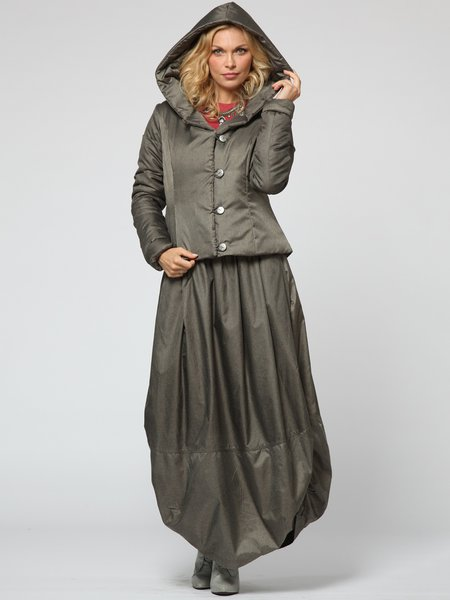 Buttoned Solid Two Piece Casual Long Sleeve Maxi Dress