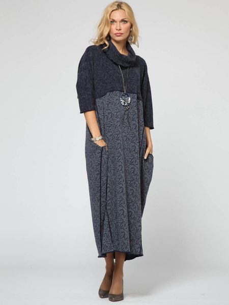 Long Sleeve H-line Cowl Neck Paneled Casual Maxi Dress