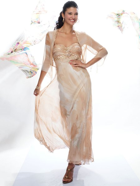 Spaghetti Silk Two Piece Spaghetti Elegant Maxi Dress
