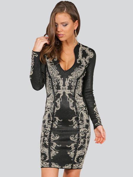 Black Sheath Jacquard Polyester Sexy Midi Dress