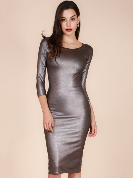 Gold Brown Sheath Sexy Midi Dress