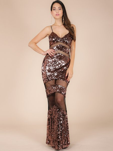Sheath Glitter-finished Spaghetti Sexy Maxi Dress