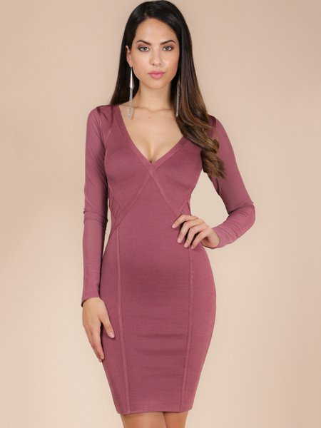 Deep Pink Long Sleeve V Neck Bandage Dress