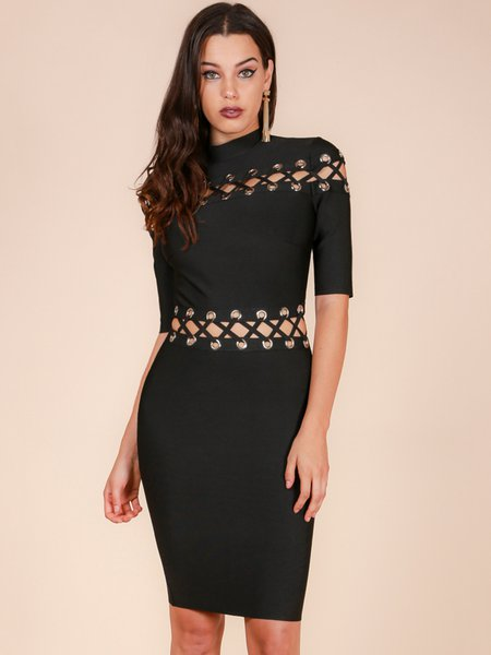 Black Polyester Pierced Sexy Bandage Dress