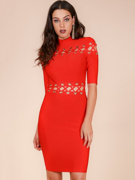 Half Sleeve Polyester Pierced Sexy Bandage Dress