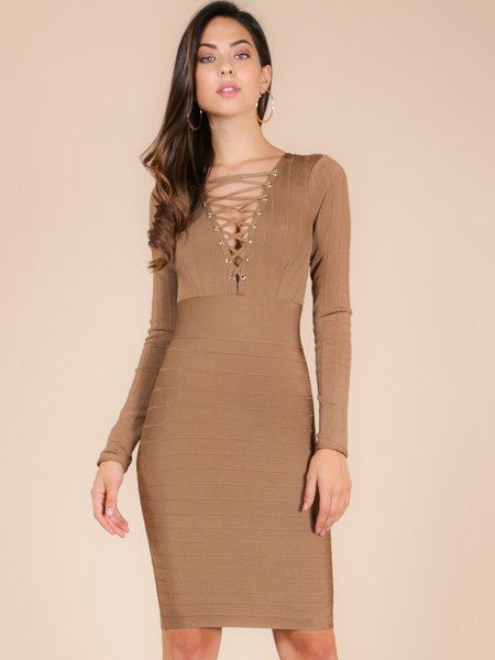Solid Long Sleeve Lace Up Sexy Midi Dress