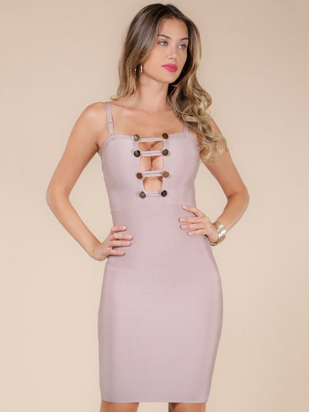 Pink Solid Cutout Sexy Polyester Bandage Dress