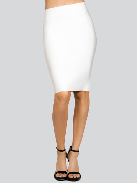 White Sexy Polyester Sheath Pencil Skirt