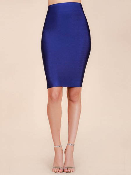 Navy Blue Sheath Sexy Solid Polyester Pencil Skirt - StyleWe.com