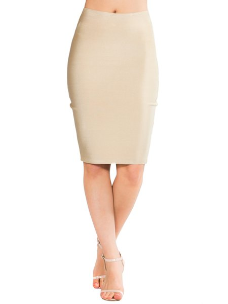Beige Polyester Sexy Solid Sheath Pencil Skirt