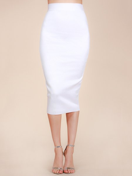 White Sheath Solid Polyester Sexy Pencil Skirt