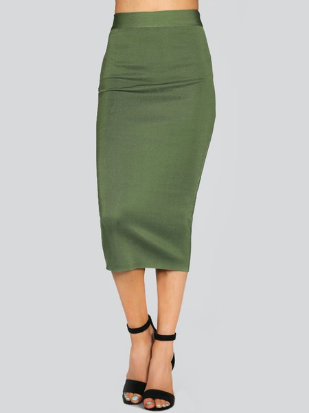 Olive Green Polyester Sexy Solid Pencil Skirt