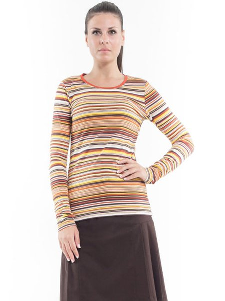 Orange Viscose Stripes Casual Long Sleeved Top