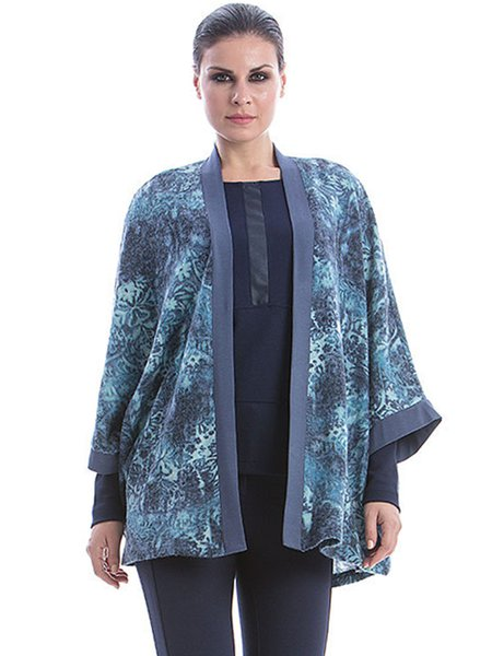 Abstract Knitted Casual 3/4 Sleeve H-line Kimono