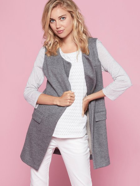 Wool Blend Solid Simple H-line Sleeveless Gilet