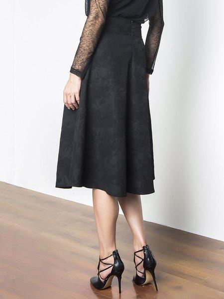 black casual polyester a line plain midi skirt stylewe