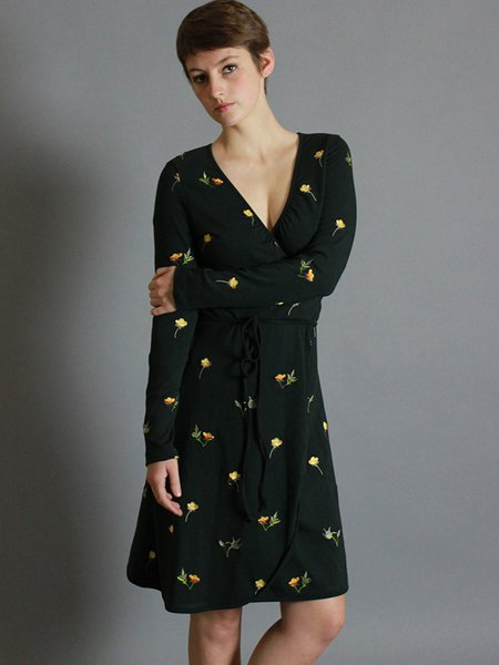 Dark Green V Neck Floral-embroidered Floral Casual Wrap Dress ...