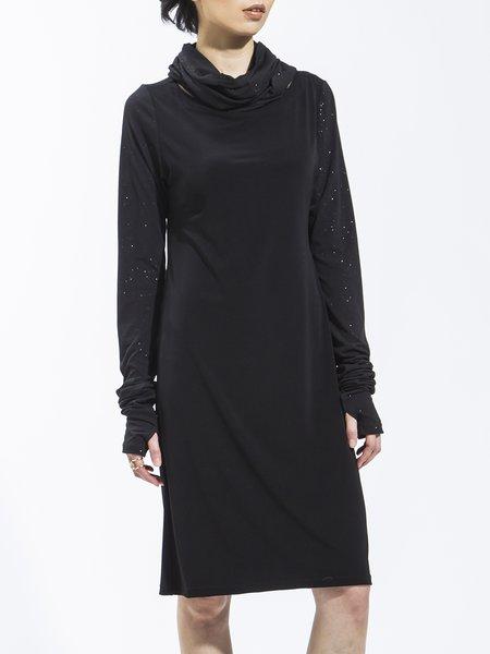 Black Polyester Long Sleeve H-line Bateau/boat Neck Tunic