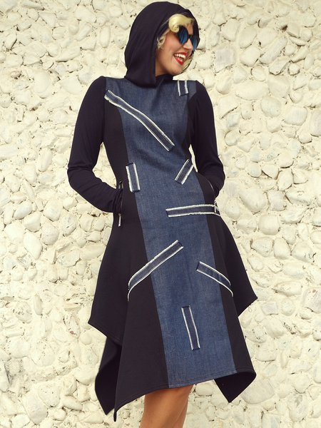 Hoodie Statement Long Sleeve Denim Asymmetrical Midi Dress