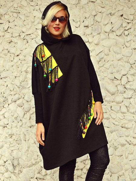 Black Fringed Long Sleeve Statement Acrylic Color-block Hoodies