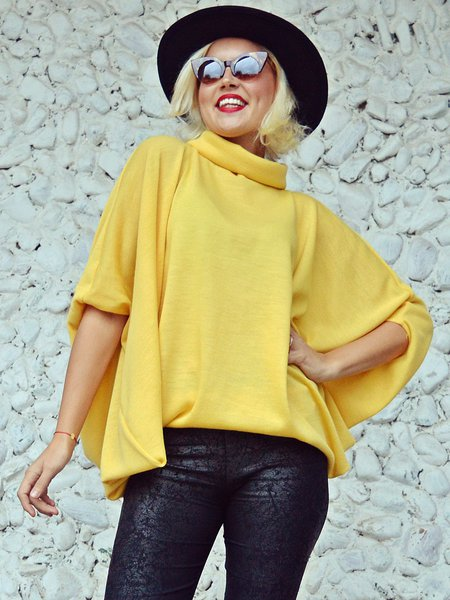 Yellow Casual Knitted H-line Cowl Neck Sweater