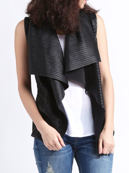 Black Leather Asymmetrical Solid Casual Vests