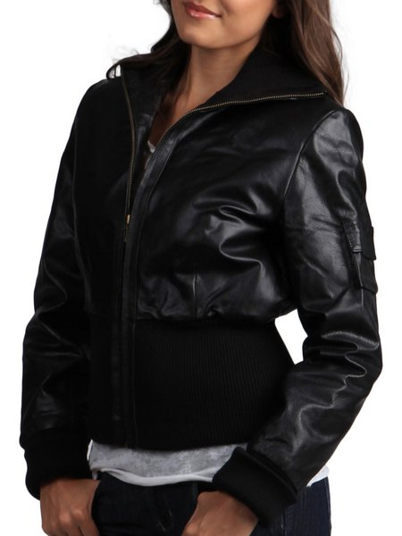 Casual H-line Long Sleeve Leather Jacket