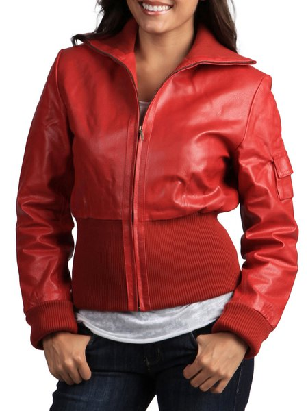 Red Paneled Long Sleeve Solid H-line Leather Jacket
