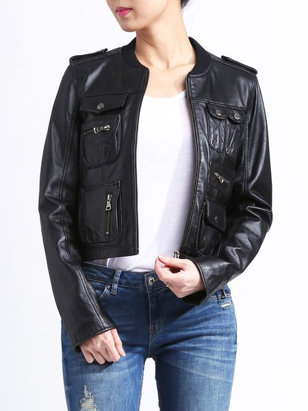 Black Pockets H-line Long Sleeve Solid Leather Jacket