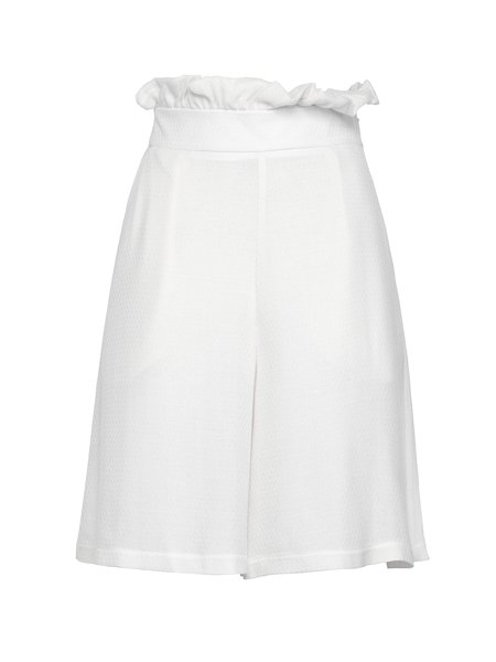 White Elegant Solid Ruffled A-line Shorts