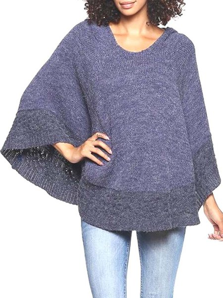 Blue Knitted Casual Hoodie Poncho