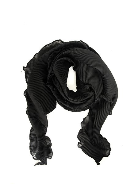 Black Ribbed Solid Scarf