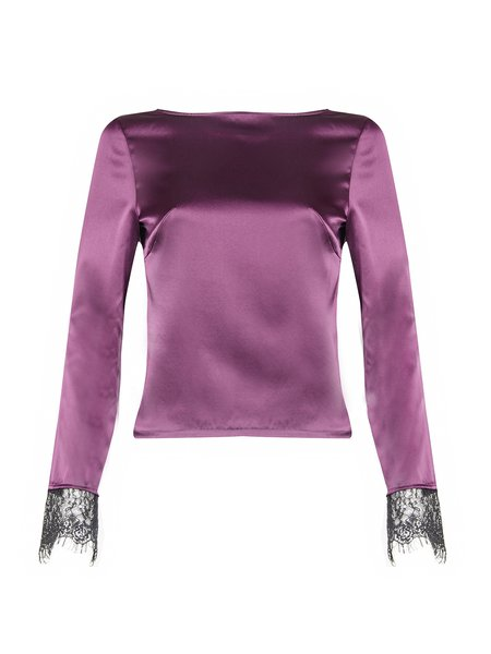 Purple Solid Paneled Silk Elegant Blouse