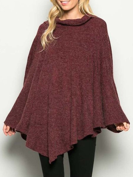Burgundy Casual Cowl Neck Knitted Solid Poncho