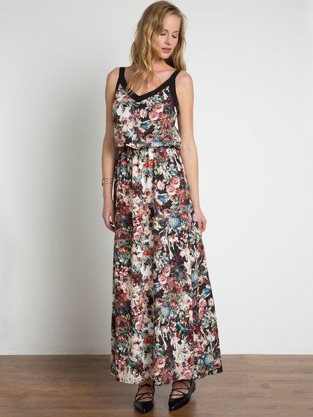 Black Swing Floral-print Elegant Maxi Dress
