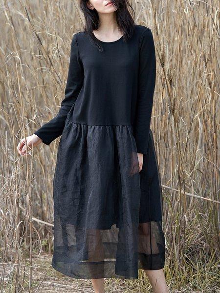 Black Casual Plain Paneled Midi Dress