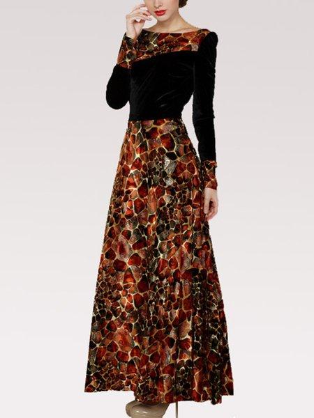 A line long sleeve maxi dress