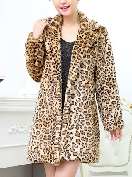 Plus Size Casual Leopard Print Long Sleeve Fur And Shearling Coats