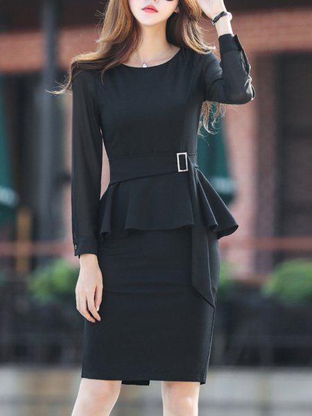 Black Midi Dress Bodycon Daily Work Solid Dress